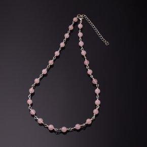 Бусы розовый кварц Бразилия (биж. сплав) 6 мм 44 см (+7 см)