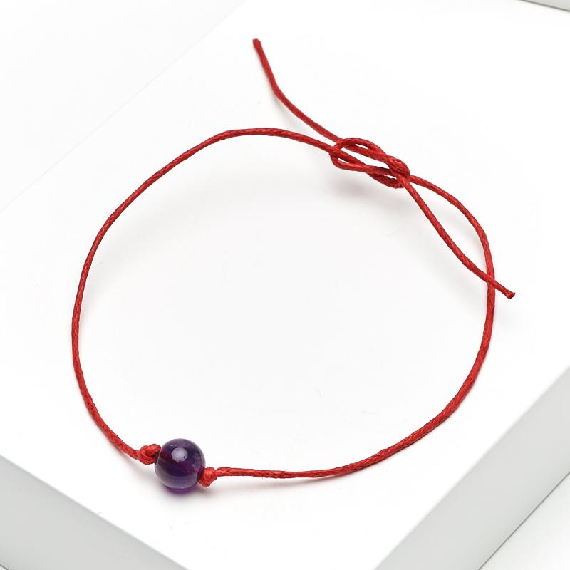 Браслет аметист  (текстиль) красная нить На процветание 6 мм 28 см (регулируемый)