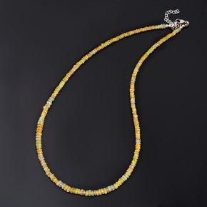 Бусы опал благородный желтый Эфиопия (биж. сплав, сталь хир.) огранка 4 мм 46 см (+7 см)