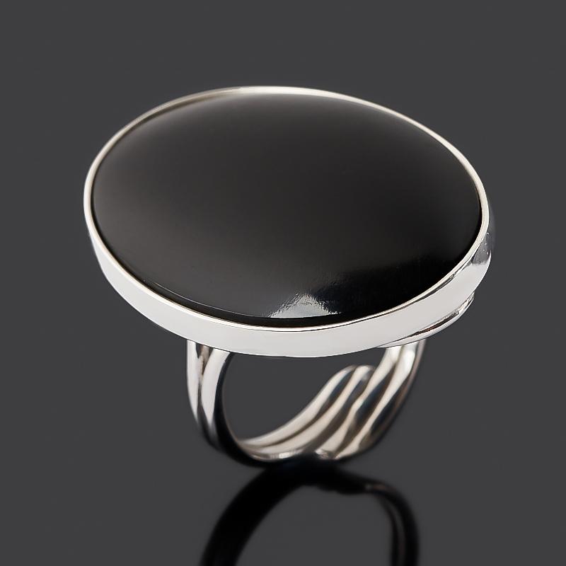 Кольцо гагат матовый (серебро 925 пр. родир. бел.) (регулируемый) размер 17