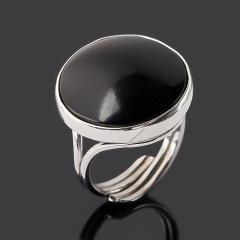 Кольцо гагат матовый Грузия (серебро 925 пр. родир. бел.) (регулируемый) размер 17,5