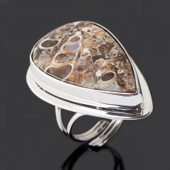 Кольцо агат черепаховый США (серебро 925 пр. родир. бел.) (регулируемый) размер 17,5
