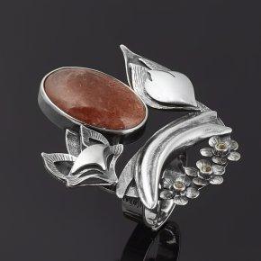 Кольцо солнечный камень Индия (серебро 925 пр. родир. черн.) (регулируемый) размер 16,5