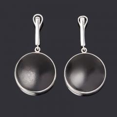 Серьги гагат матовый Грузия (серебро 925 пр. родир. бел.)