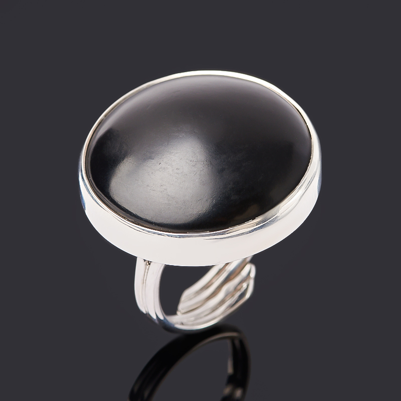 Кольцо гагат матовый (серебро 925 пр. родир. бел.) (регулируемый) размер 17,5