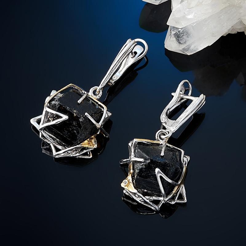 Серьги турмалин черный (шерл) (серебро 925 пр. позолота, родир. бел.)
