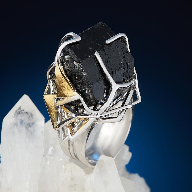 Кольцо турмалин черный (шерл) (серебро 925 пр. родир. бел. позолота) размер 18 (регулируемый)