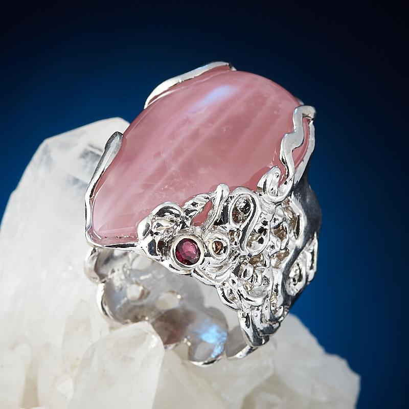 Кольцо розовый кварц (серебро 925 пр. позолота, родир. бел.) (регулируемый) размер 17,5