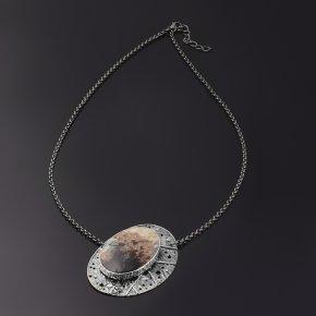 Кулон окаменелое дерево Мадагаскар (серебро 925 пр. родир. черн.)
