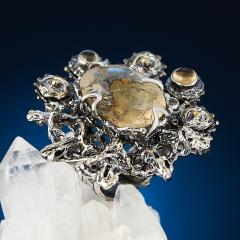 Кольцо кварц Бразилия (серебро 925 пр. позолота, родир. бел., родир. черн.) (регулируемый) размер 17
