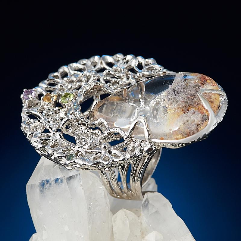 Кольцо кварц с хлоритом (серебро 925 пр. позолота, родир. бел.) (регулируемый) размер 17
