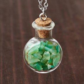 Кулон хризопраз Австралия (биж. сплав, стекло) бутылочка 3 см
