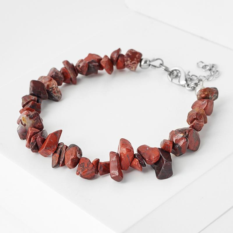 Браслет яшма красная ЮАР (биж. сплав) 16 см (+3 см)