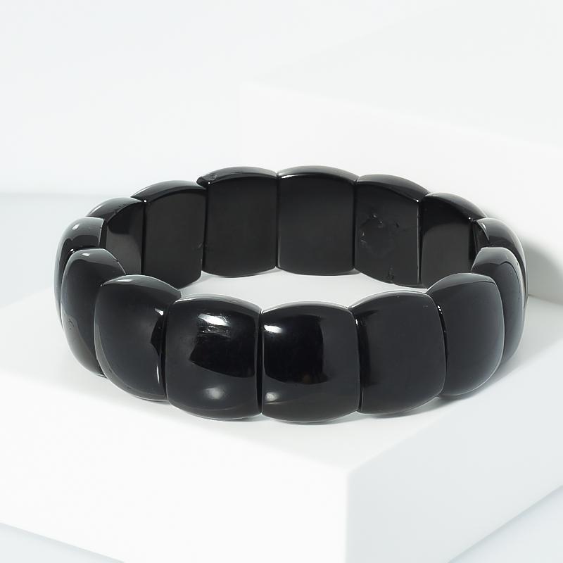 Браслет турмалин черный (шерл) 19 см