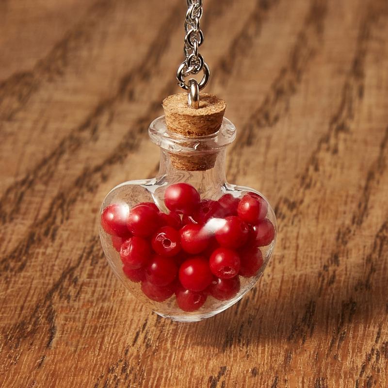 Кулон коралл красный (биж. сплав, стекло) бутылочка 3,5 см