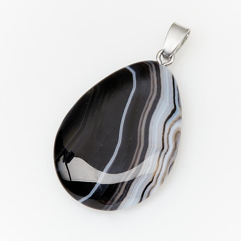 Кулон агат черный Бразилия (биж. сплав) капля 4,5 см