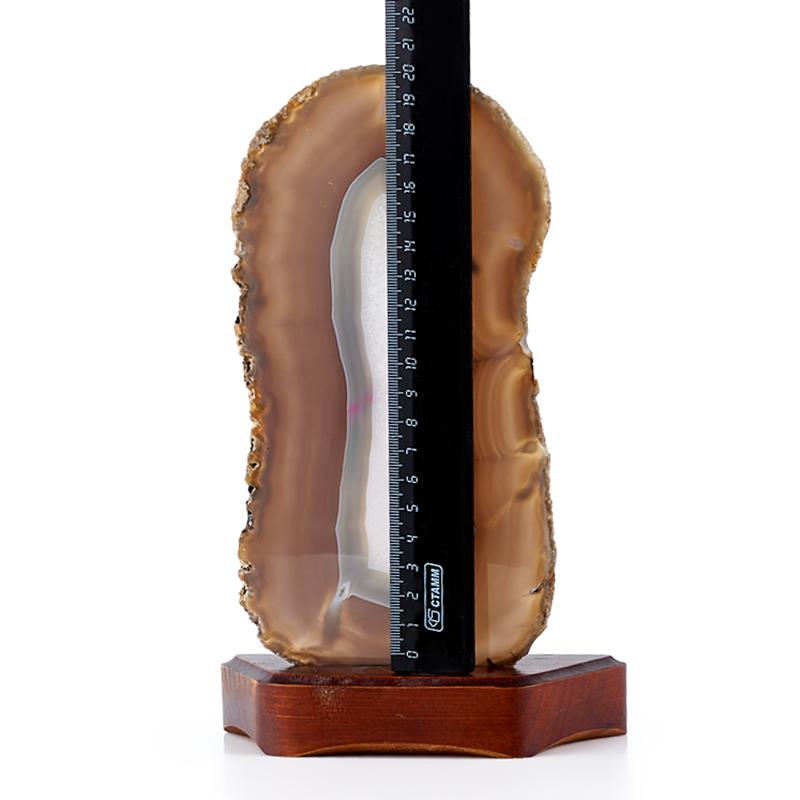 Срез агат серый Ботсвана (на подставке) XXL 0,7х11х21,5 см