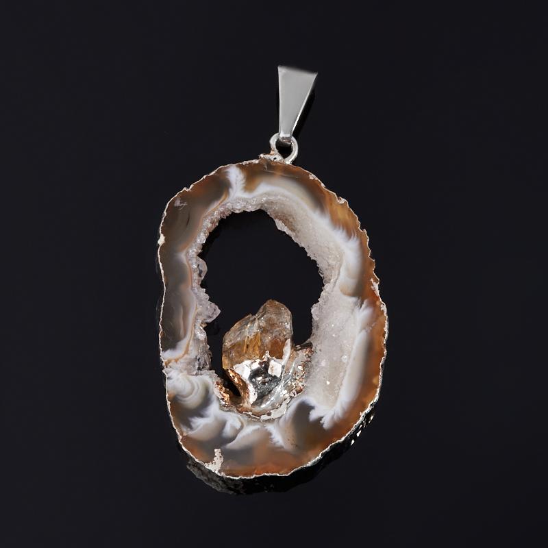 Кулон агат серый срез с кристаллом цитрина (биж. сплав) 4,5-5 см