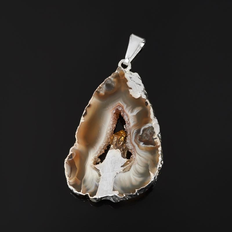 Кулон агат серый Бразилия срез с кристаллом цитрина (биж. сплав) 4,5-5 см