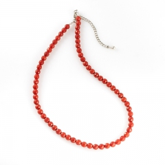 Бусы коралл оранжевый Индонезия огранка 6 мм 46 см (+7 см) (сталь хир., биж. сплав)