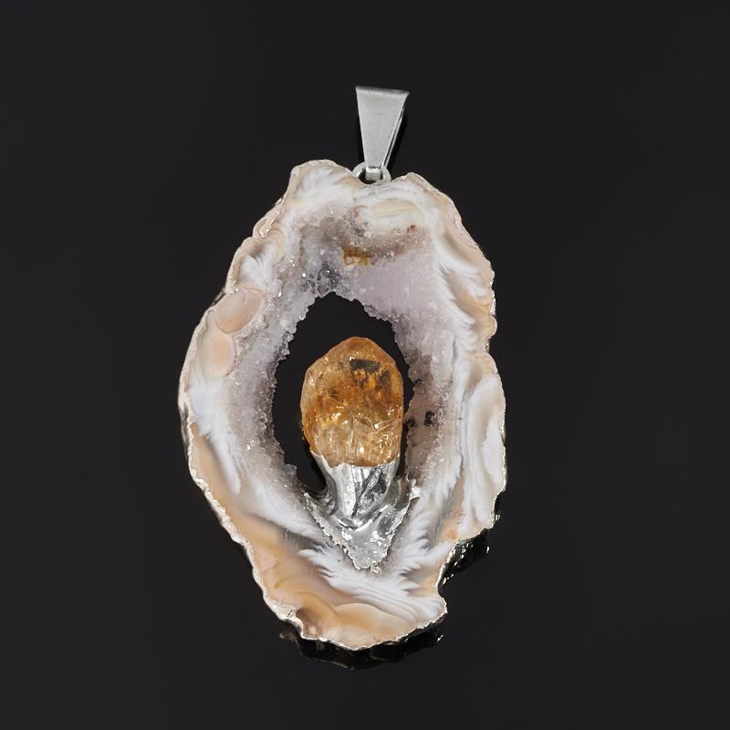 Кулон агат серый Бразилия (биж. сплав) срез с кристаллом цитрина 4,5-5 см