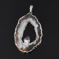 Кулон агат серый Бразилия (биж. сплав) срез с кристаллом аметиста 4-5,5 см