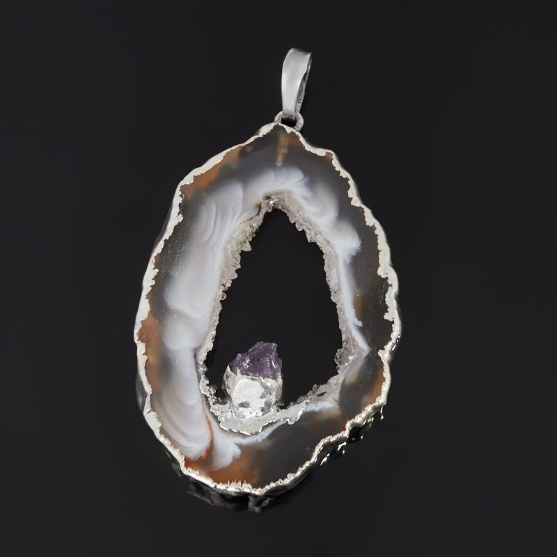 Кулон агат серый (биж. сплав) срез с кристаллом аметиста 4-5,5 см