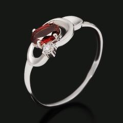 Кольцо гранат альмандин Индия (серебро 925 пр. родир. бел.) огранка размер 17,5