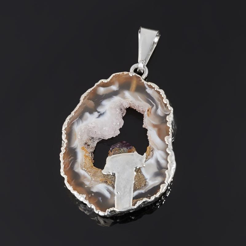 Кулон агат серый Бразилия (биж. сплав) срез с кристаллом аметиста 3-4 см