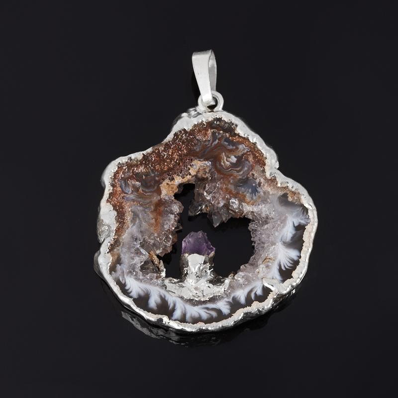 Кулон агат серый (биж. сплав) срез с кристаллом аметиста 3-4 см