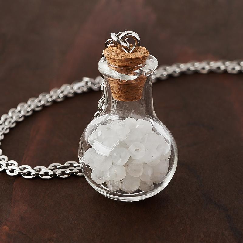 Фото - Кулон лунный камень (адуляр) (биж. сплав, стекло) бутылочка огранка 3 см кулон опал благородный белый биж сплав бутылочка огранка 3 см