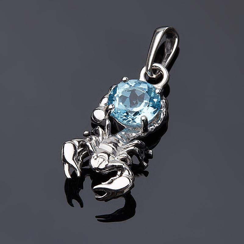 Кулон топаз голубой (серебро 925 пр. родир. бел.) Скорпион огранка кулон топаз голубой золото 585 пр