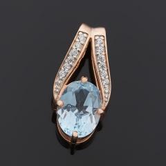 Кулон топаз голубой Бразилия (серебро 925 пр. позолота) огранка