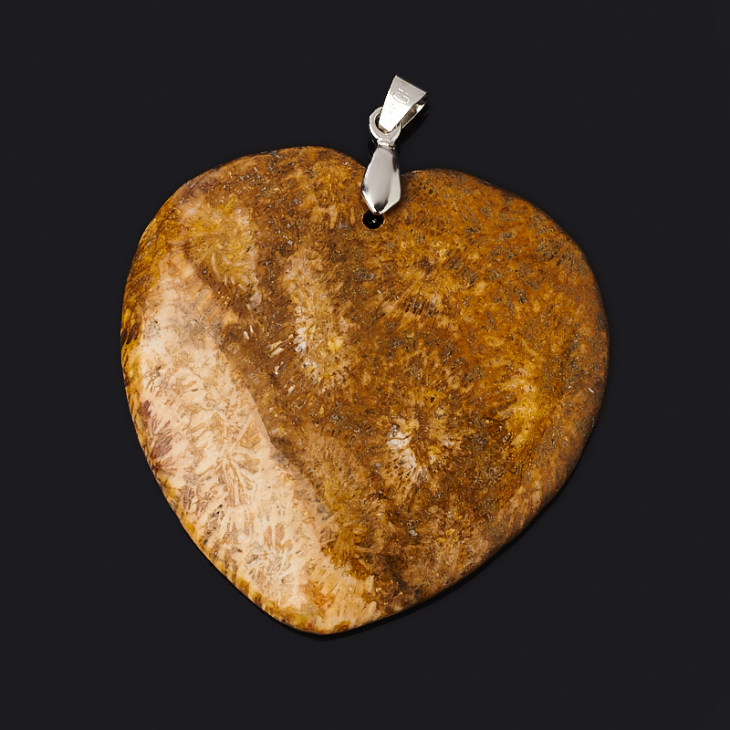 Кулон коралл (биж. сплав) сердечко 5,5 см фото