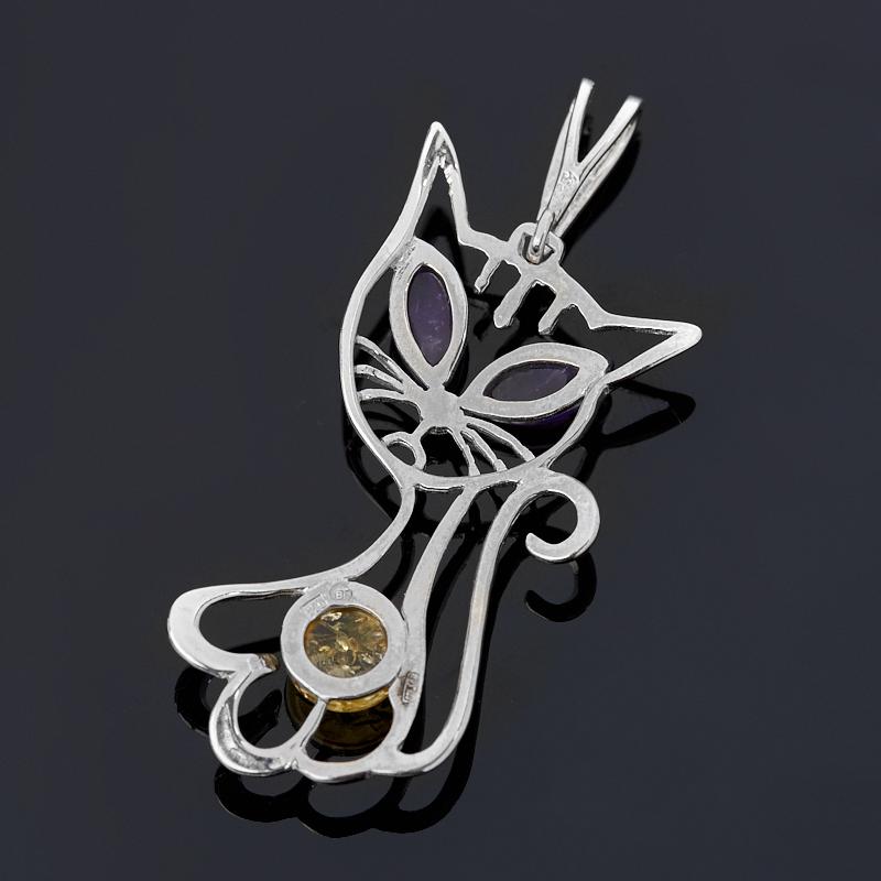Кулон микс аметист, янтарь (серебро 925 пр. родир. бел.)
