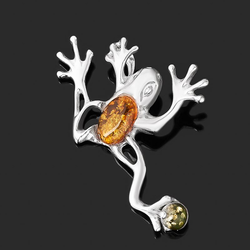 Кулон янтарь пресс (серебро 925 пр. родир. бел.) лягушка