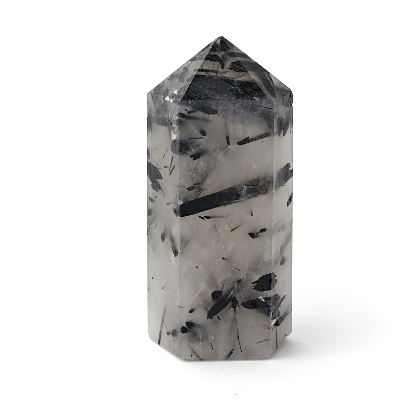 Кристалл кварц с турмалином (ограненный) S (4-7 см)