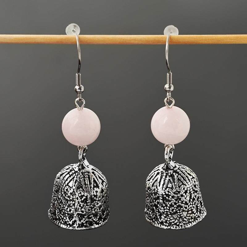 Серьги розовый кварц Бразилия (биж. сплав, сталь хир.)