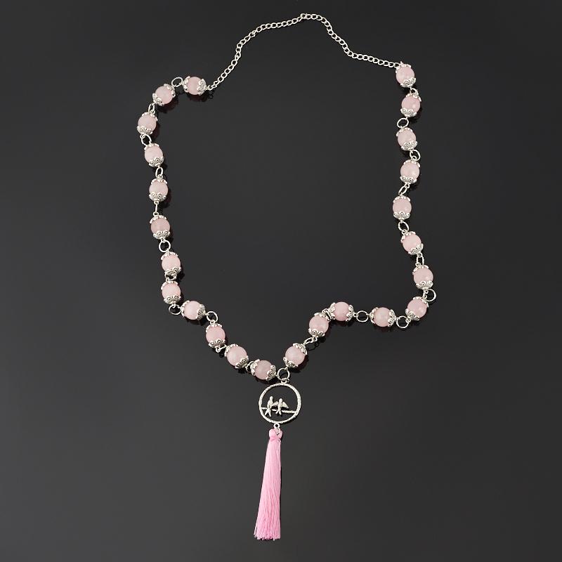 Бусы розовый кварц (сотуар) длинные 12 мм 80 см (текстиль, биж. сплав) авторские бусы сакура розовый кварц кошачий глаз лунный камень
