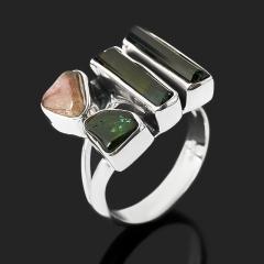 Кольцо турмалин зеленый (верделит), розовый (рубеллит) Бразилия (серебро 925 пр.) размер 18