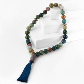 Четки агат моховой Индия (текстиль) 12 мм (33 бусины)