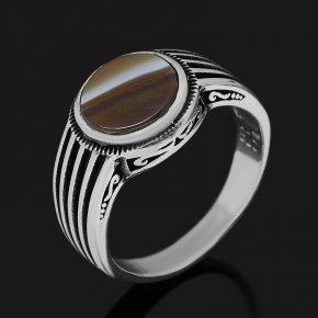 Кольцо агат серый Ботсвана (серебро 925 пр. оксидир.) размер 20