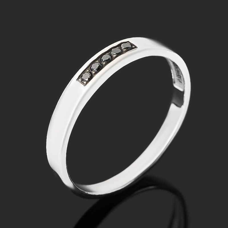 Кольцо бриллиант черный Россия (серебро 925 пр. родир. бел.) огранка (обручальное) размер 19,5