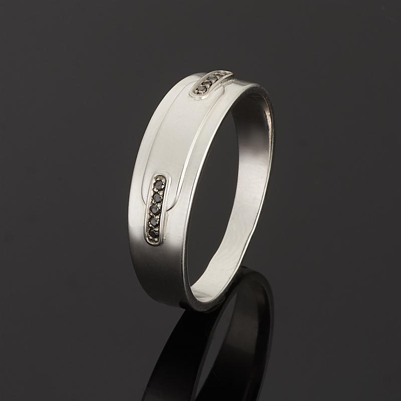 Кольцо бриллиант черный Россия (серебро 925 пр. родир. бел.) огранка размер 19,5