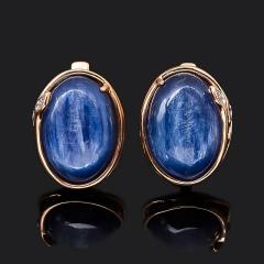 Серьги кианит синий Бразилия (серебро 925 пр. позолота)