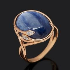Кольцо кианит синий Бразилия (серебро 925 пр. позолота) размер 17,5