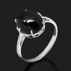 Кольцо агат черный Бразилия (серебро 925 пр. родир. бел.) размер 17,5