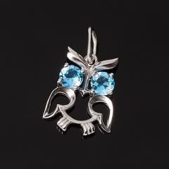 Кулон топаз голубой Бразилия (серебро 925 пр. родир. бел.) огранка