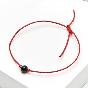 Браслет агат черный Бразилия (текстиль) красная нить 6 мм 28 см (регулируемый)
