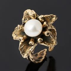 Кольцо жемчуг белый Гонконг (бронза) (регулируемый) размер 17